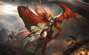 Картинка девушка, крылья, League of Legends