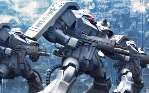 Картинка оружие, армия, роботы, трио, Mobile Suit Gundam