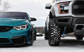Картинка Ford, BMW, Blue, Winter, Raptor, Snow, White, F150, F80, LED