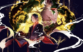 Картинка бабочка, демон, парни, рог, Hoozuki no Reitetsu, Хладнокровный Хозуки, Хакутаку
