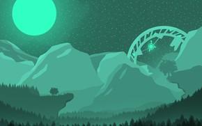 Картинка лес, пейзаж, горы, ночь, зеленый, луна, НЛО, ночной пейзаж, полнолуние, пришельцы, ночное небо, ночное время …
