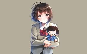 Картинка игрушка, девочка, серый фон