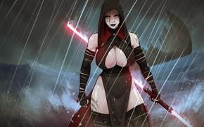 Картинка дождь, сиськи, Star Wars, арт, Звёздные войны, Рэй, art, большая грудь, Ray, by DevilHS, DevilHS, …