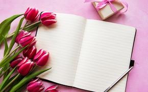 Картинка цветы, подарок, ручка, блокнот, Olena Rudo