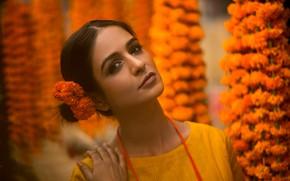 Картинка girl, flower, model, beauty, bollywood