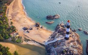 Картинка маяк, Индия, Карнатака, Удупи, пляж Капу