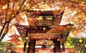 Картинка осень, девушка, храм, ушки, Inubashiri Momiji, Tohou Project