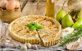 Картинка зелень, яйца, сыр, пирог, груши, чеснок