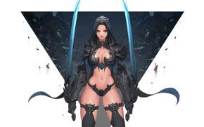 Картинка Girl, Fantasy, Beautiful, Sexy, Art, Style, Concept Art, Demon Hunter, Minimalism, Sword, Characters, Armor, Swords, …