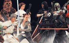 Картинка Star Wars, Obi Wan Kenobi, Darth Maul, Darth Vader, Звездные Войны, Дарт Вейдер, Йода, Yoda, …
