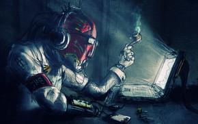 Картинка fantasy, Robot, computer, headphones, science fiction, sci-fi, artwork, table, fantasy art, futuristic, pipe