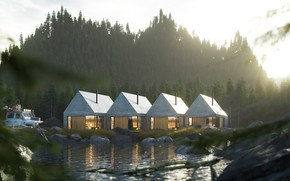 Картинка лес, домики, водоём, комплекс, The concept of a mini hotel in the forest