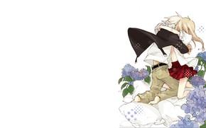 Картинка девушка, цветы, романтика, подушки, аниме, парень, Пожиратель душ, Soul Eater