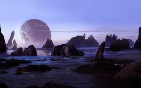 Картинка море, пляж, небо, скалы, планета, арт, sci-fi