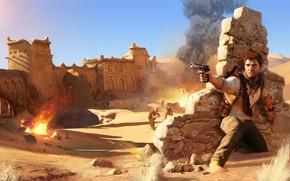 Картинка пустыня, солдаты, руины, Nathan Drake, Uncharted 3: Drake's Deception