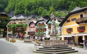 Картинка цветы, дома, Австрия, площадь, Халльштатт