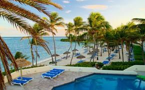 Картинка пляж, пальмы, отдых, бассейн, лежаки, Карибы, Антигуа и Барбуда