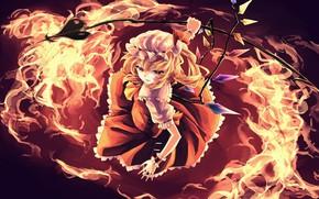 Картинка девушка, огонь, Touhou, Тоухоу