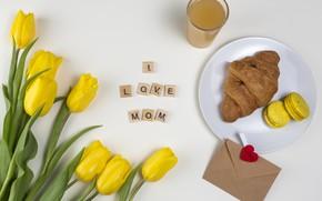 Картинка надпись, завтрак, сок, тюльпаны, круассан, апельсиновый