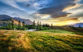 Обои Mountains, Landscape, New Zealand, Sunset