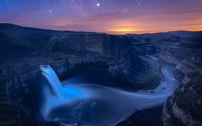 Картинка небо, ночь, водопад