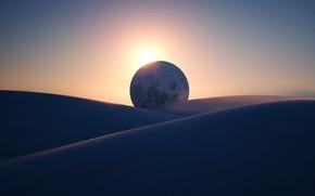 Картинка обои, луна, пустыня, Microsoft, Eclipse