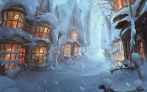 Обои зима, снег, настроение, красота, арт, городок, Elizaveta Lebedeva, Winter is coming in Hogsmeade!