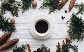 Картинка украшения, Новый Год, Рождество, Christmas, wood, cup, New Year, coffe, decoration, чашка кофе, Merry, fir ...