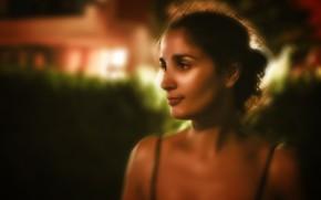 Картинка девушка, брюнетка, фонари, light, girl, night, art, beautiful, brunette, drawing, glance, Nargis, Kide FotoArt, Наргис, …