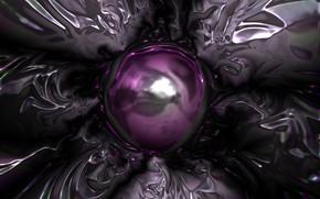 Картинка фиолетовый, линии, металл, абстракция, узор, блеск, структура, серебряный, форма, пузырь, сфера, металлик, плазма, металлический, плавление, …