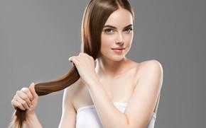 Картинка девушка, лицо, волосы, руки, шатенка, Ryabusjkina Irina