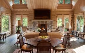Картинка интерьер, камин, гостиная, столовая