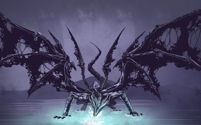 Картинка вода, дракон, крылья, рваные