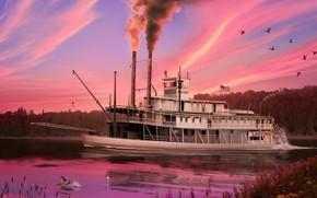 Картинка природа, река, пароход