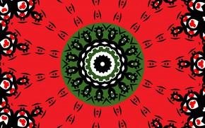 Картинка цветок, красный, узор, цвет, зелёный, калейдоскоп