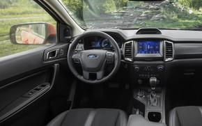 Картинка Ford, интерьер, приборы, руль, салон, дисплей, пикап, Ranger, Lariat, Tremor, 2021