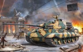 Картинка Tiger II, Sd. Kfz. 182, King Tiger, Тяжёлый Танк, Противотанковый ёж