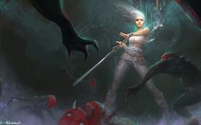 Картинка тьма, меч, монстры, Ведьмак 3: Дикая Охота, Ciri