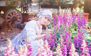 Картинка лето, девушка, свет, цветы, природа, стиль, сад, платье, наряд, азиатка, фотосессия, провинциальный