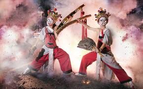 Обои дым, танец, маски