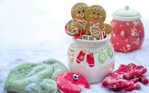 Картинка зима, снег, природа, печенье, варежки