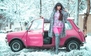 Картинка зима, модель, гламур, автомобиль