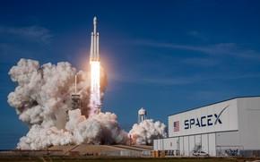 Картинка USA, Ракета, Старт, SpaceX, Cape Canaveral, Falcon Heavy