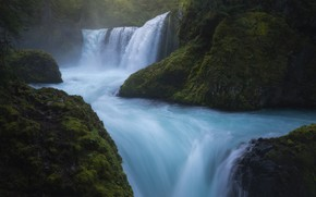 Картинка скалы, водопад, поток