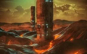 Картинка Башня, Огонь, Стиль, Здания, Здание, Fantasy, Fire, Небоскрёб, Арт, Графика, Art, Башни, Style, Фантастика, Fiction, …