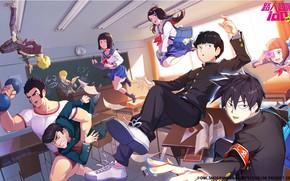 Картинка сила, класс, школьники, левитация, Mob Psycho 100, Кагеяма Шигео, Моб Психо 100