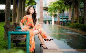Картинка девушка, парк, шатенка, ножки, азиатка, скамья, боке, босоножки