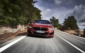 Картинка дорога, купе, скорость, BMW, Coupe, 2018, 8-Series, тёмно-оранжевый, M850i xDrive, 8er, G15
