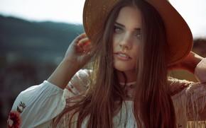 Картинка взгляд, девушка, лицо, волосы, портрет, шляпа, kassio. epia