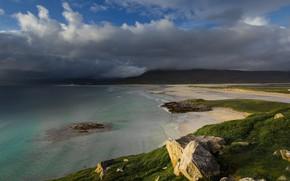 Картинка склон, прибой, горы, берег, море, пасмурно, Шотландия, холмы, облака, тучи, небо, природа, булыжники, хмуро, пейзаж, …